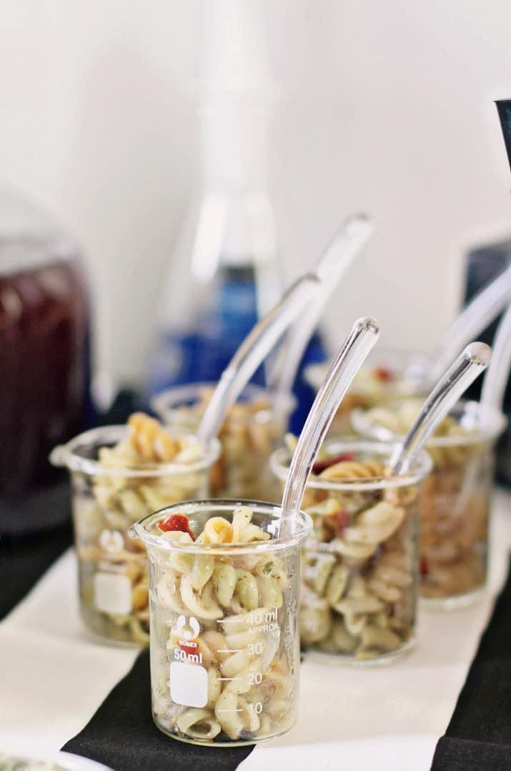 Halloween bar snacks in mini beakers