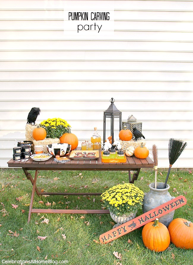 This pumpkin carving party will inspire you with lots of photos and ideas to host your own Halloween gathering. See food, diy's, decor and more here.