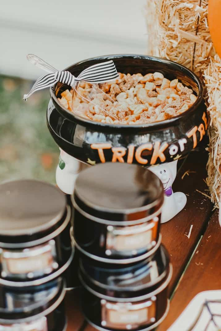 Halloween snack mix on party table