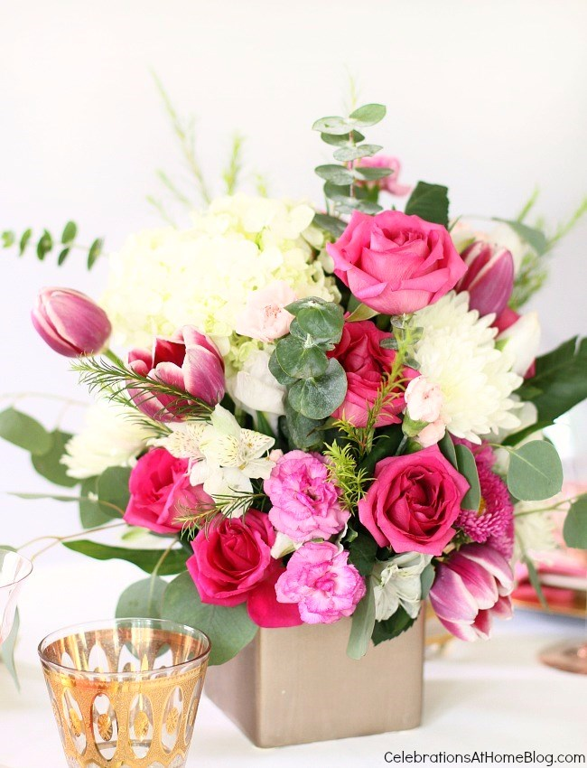 Pink party centerpiece; pink flowers