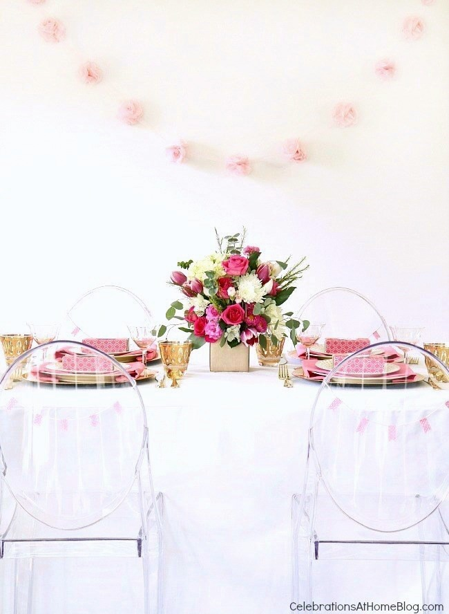 Pink party ideas; pink tablescape