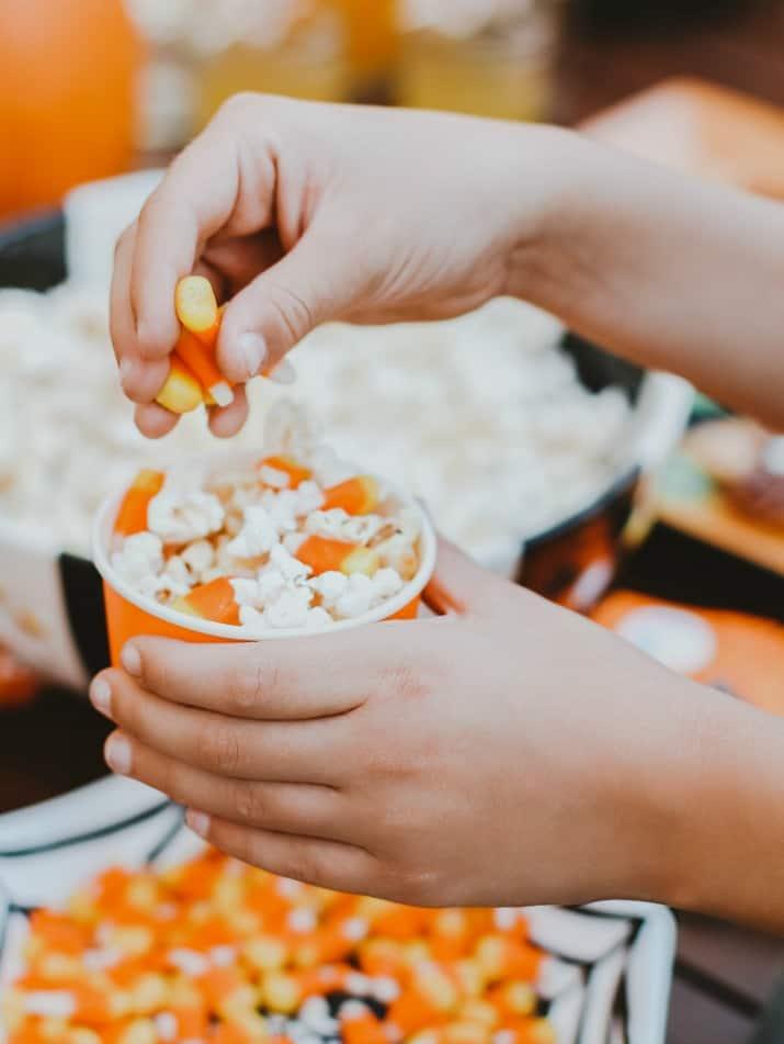candy corn and popcorn mix
