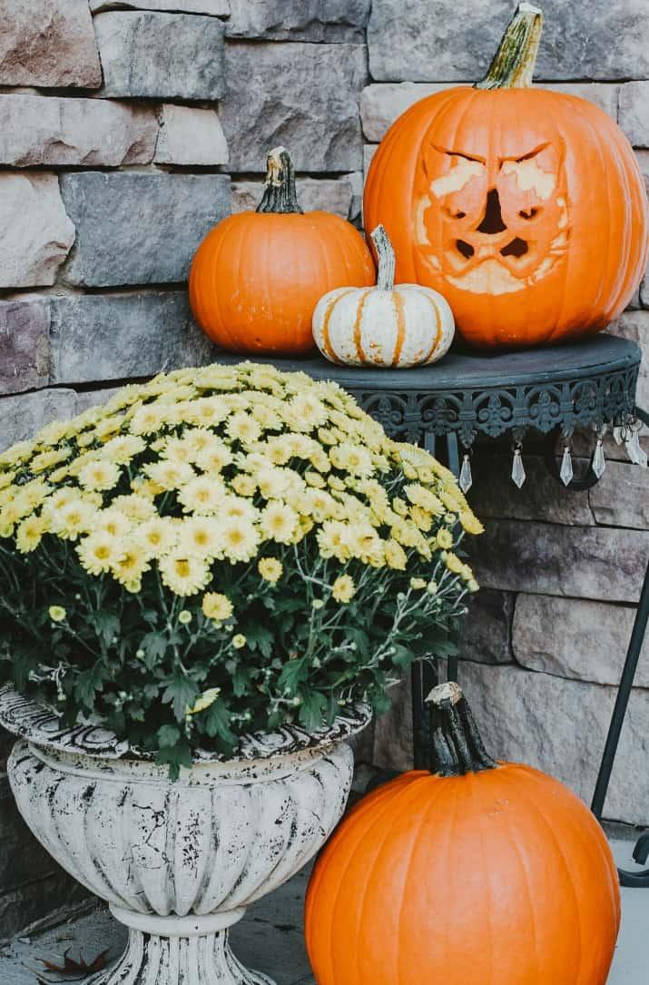 fall porch decor pumpkins and mums
