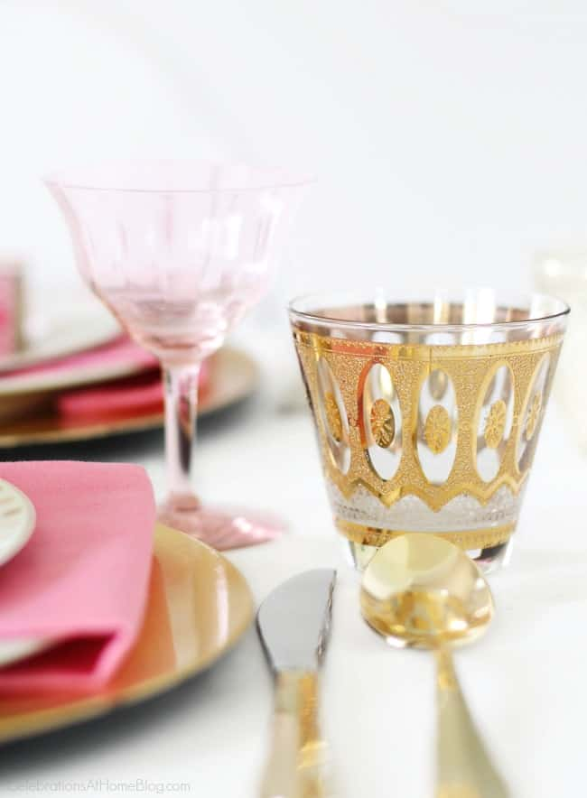 Get Pink Party Ideas for a pink bridal shower, a pink birthday celebration, or breast cancer awareness month. Add a touch of gold to your pink and white tablescape.