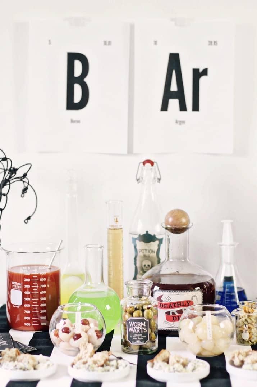Halloween bar, science lab theme bar sign