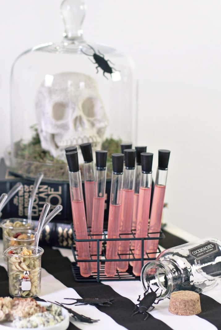 Halloween bar table with shots in test tubes