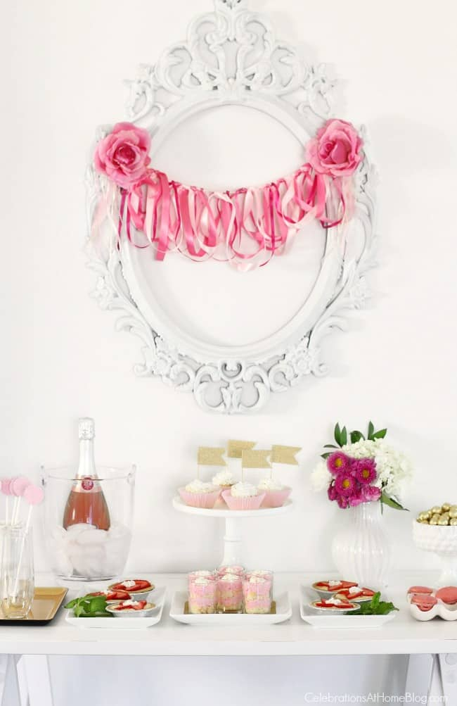 Get pink party ideas including this pink dessert table, for a pink bridal shower, pink birthday party, or breast cancer awareness party.
