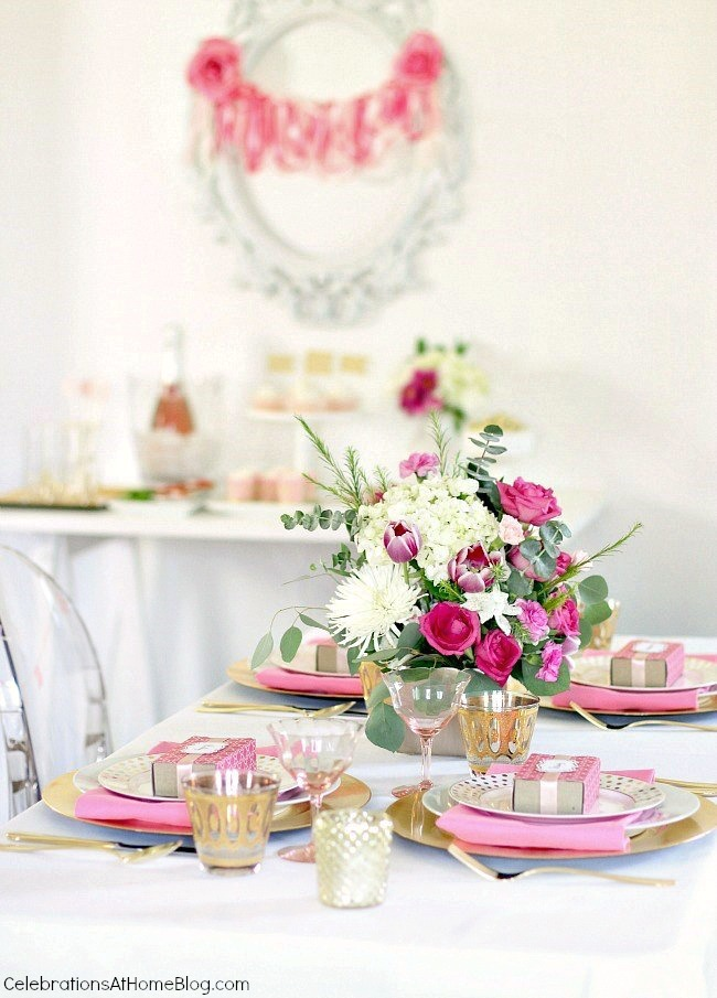 pink party ideas; pink bridal shower; pink birthday