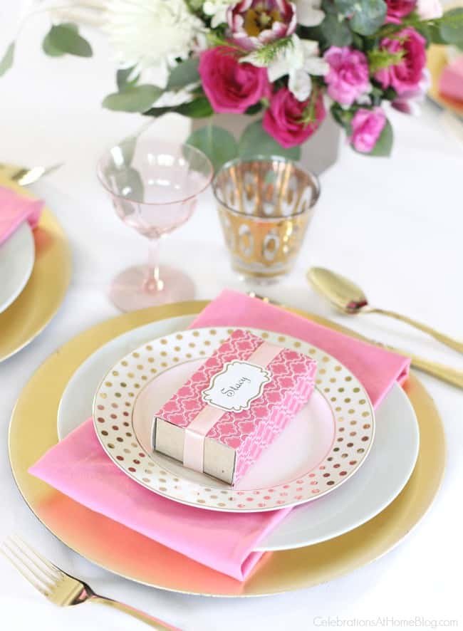 Get pink party ideas for breast cancer awareness, a pink bridal shower, or a pink birthday celebration., here. Pink and white place setting.