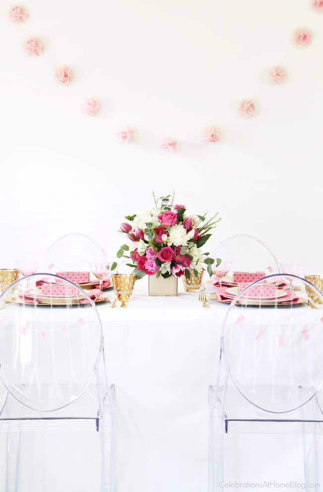 Get pink party ideas for breast cancer awareness, a pink bridal shower, or a pink birthday celebration., here. Pink and white tablescape.