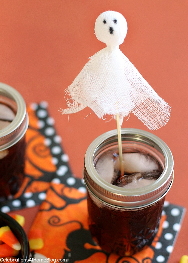 Make these Ghost Drink Stirrers for your Halloween party. Instructions here.