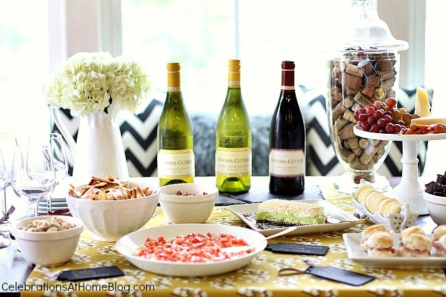 Host a Wine tasting happy hour with friends, with these tips and easy appetizer recipes.