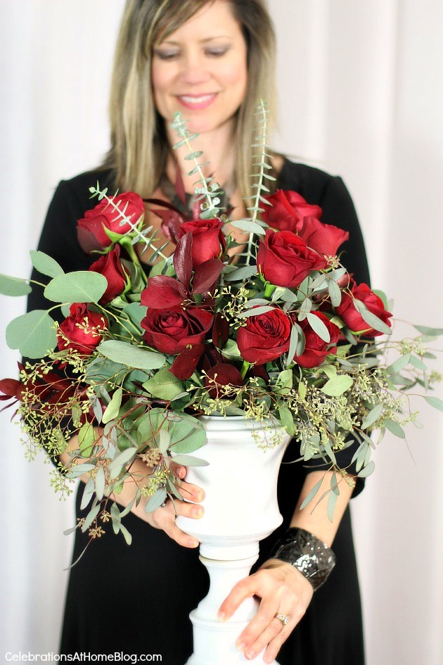I'm sharing ideas to celebrate an anniversary, Valentines Day, or other special occasions for two, here; flower arrangement of roses