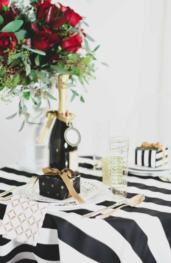 Romantic Tablescape for Two ideas in black and white and gold