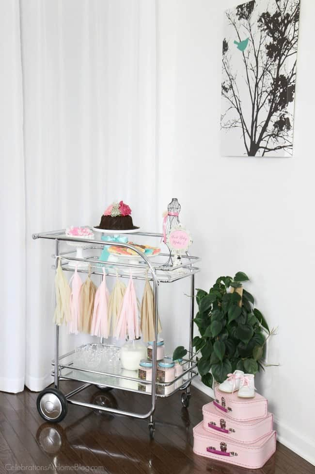 Baby shower bar cart; Get more ideas from this baby shower inspiration shoot including decor, favors, food, and more.