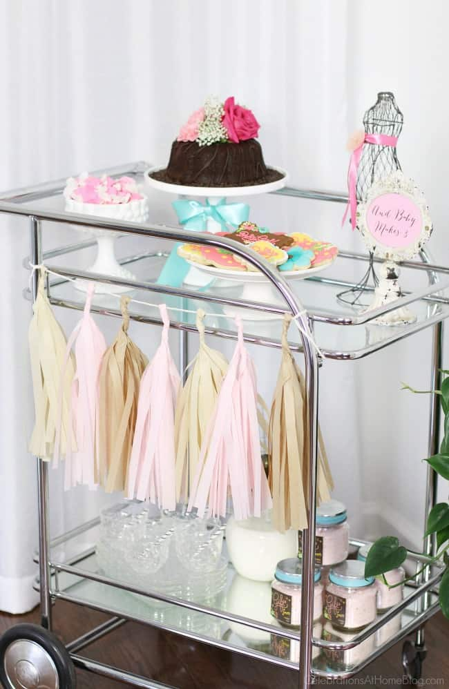 Baby shower bar cart. See more ideas from this baby shower inspiration shoot.