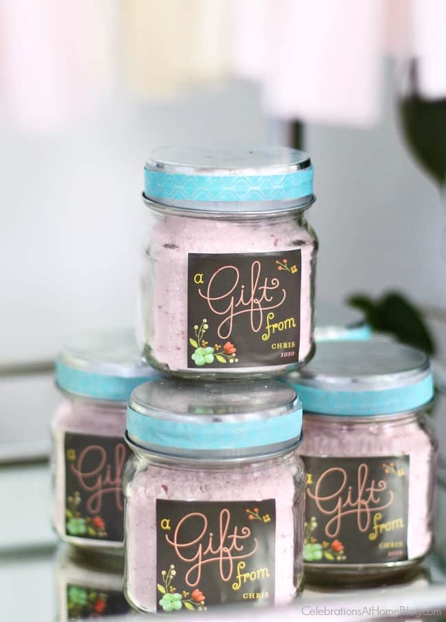 Baby shower party favors; diy bath scrub. See more ideas from this baby shower inspiration shoot.