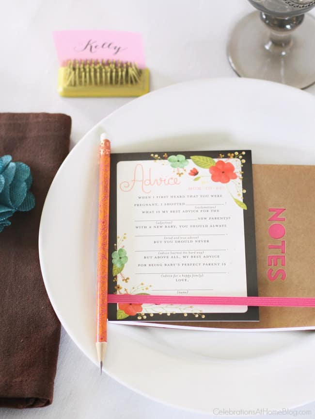 Baby shower place setting with activity card. Get ideas from this baby shower inspiration shoot.