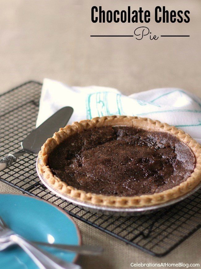 This chocolate chess pie is rich and decadent. Perfect for a casual get-together.