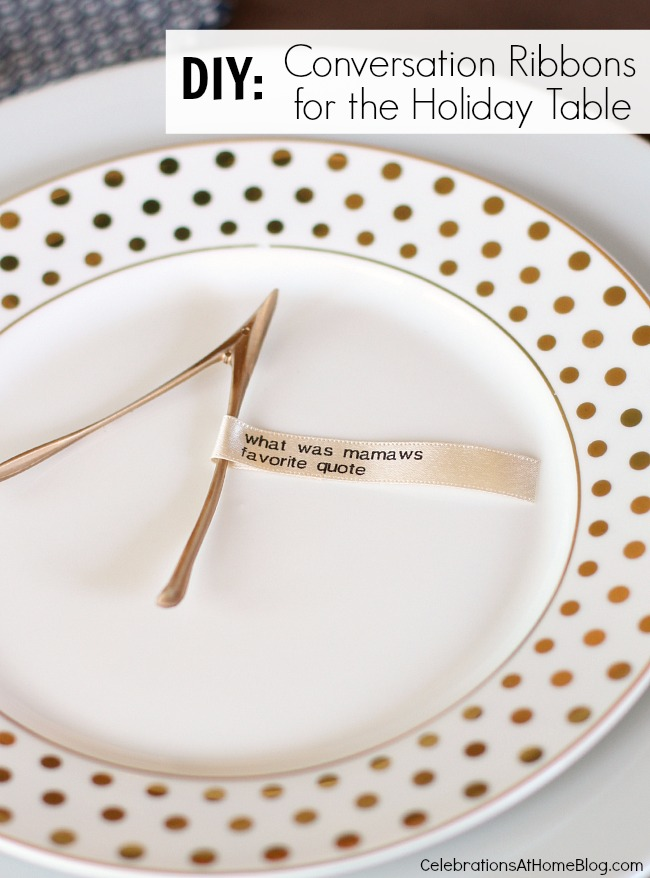 diy conversation ribbons for the holiday table