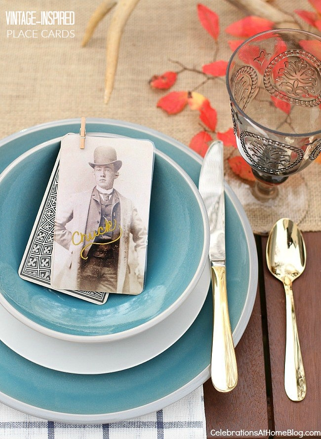 Make these vintage style place cards with these easy directions here.
