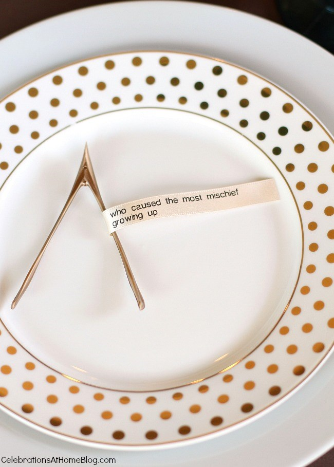 Make these diy conversation ribbons for your holiday table and revisit memories from the past. These conversation starters have a spin on the classic!