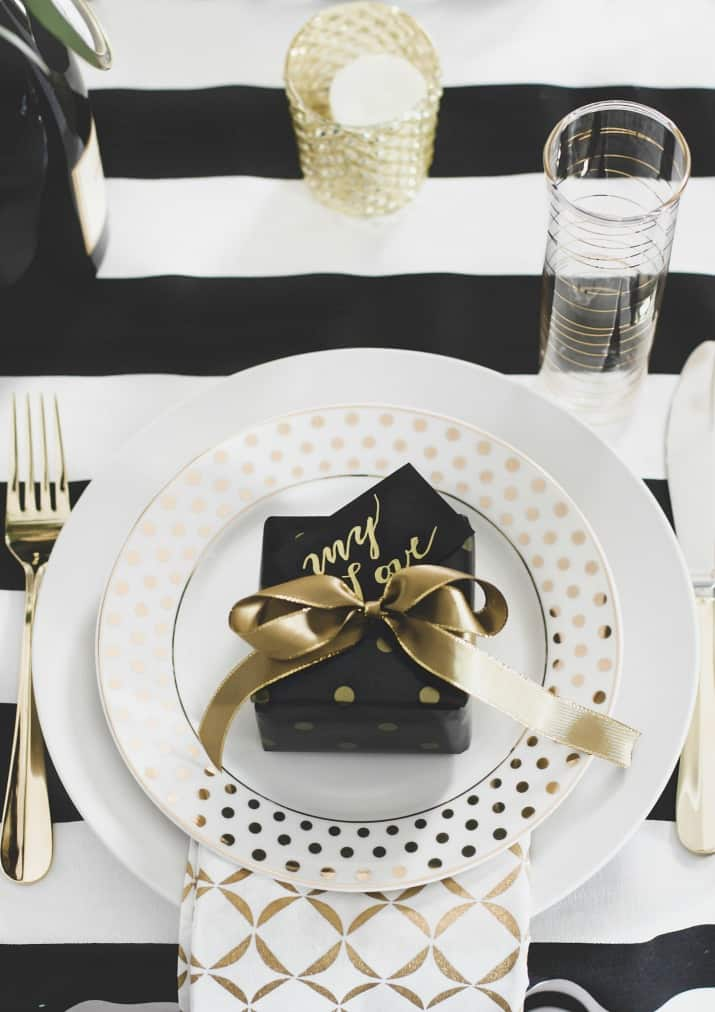 Romantic Tablescape for Two place setting with small gift on plate