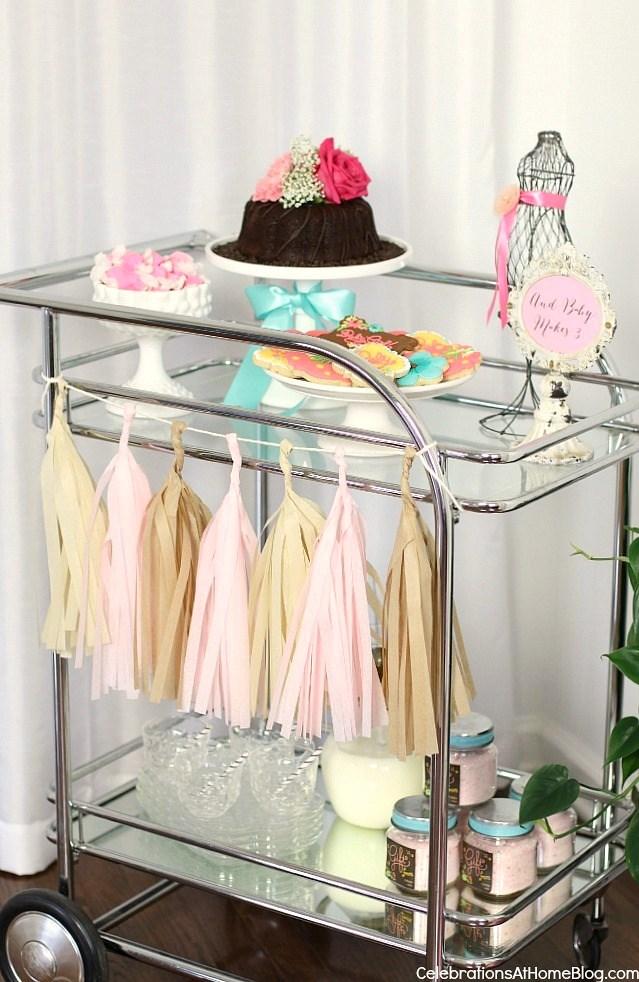 baby shower inspiration - serve dessert and drinks on a vintage bar cart