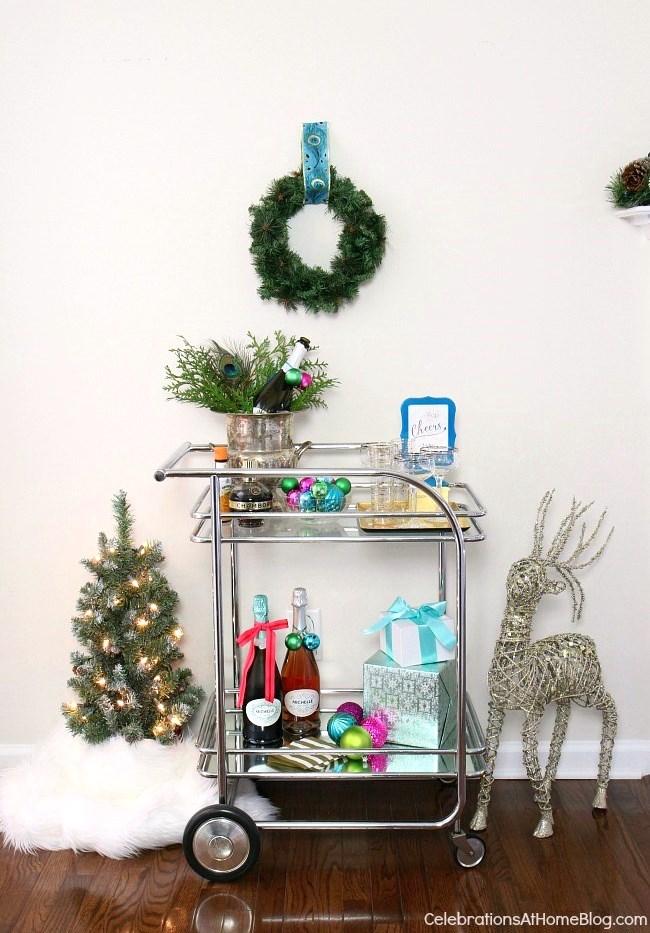 Christmas bar cart with mini tree and ornamental deer