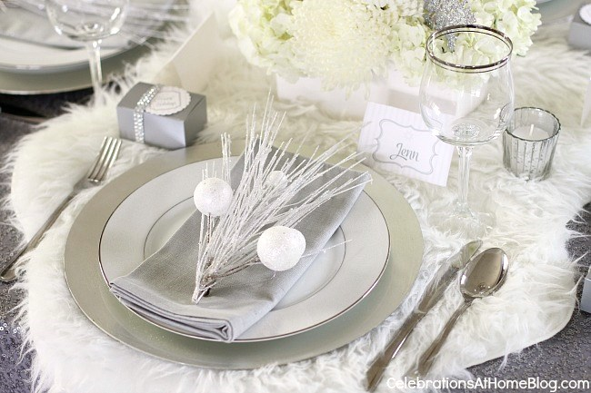 ... Winter wonderland table setting ... & Winter Wonderland Holiday Party Ideas - Celebrations at Home