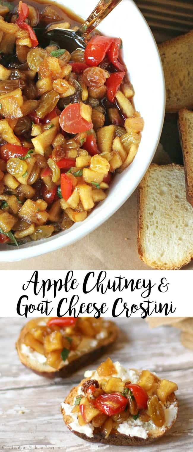 Homemade apple chutney-goat cheese crostini is an appetizer that is great for the cooler weather months and holidays. So many great flavors and textures combined into these small bites.
