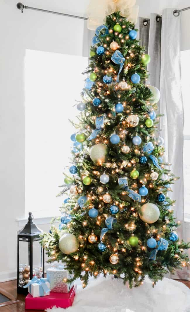 blue and green decorated Christmas tree