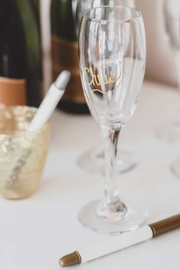 champagne glass name marker