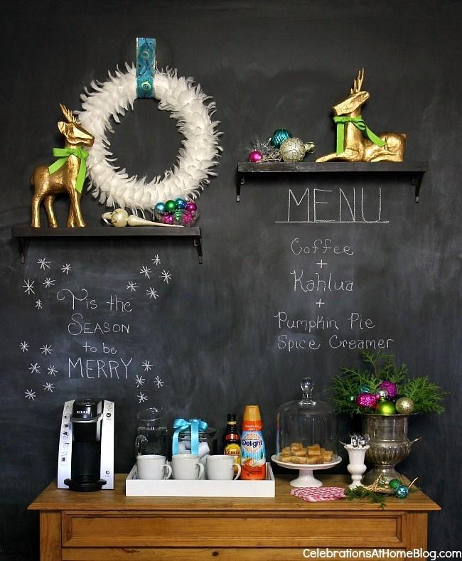 chalkboard wall and coffee bar