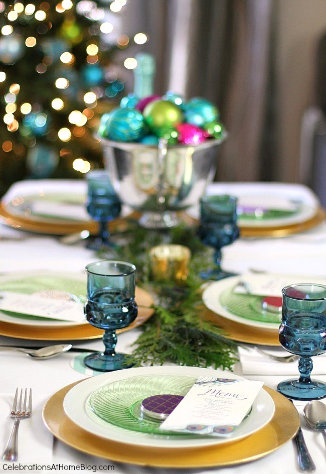 Christmas tablescape in green, blue, and pink