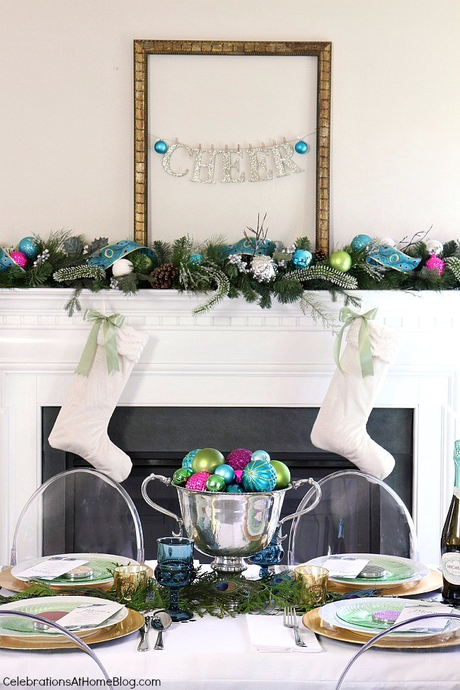 Christmas mantel with garland and stockings