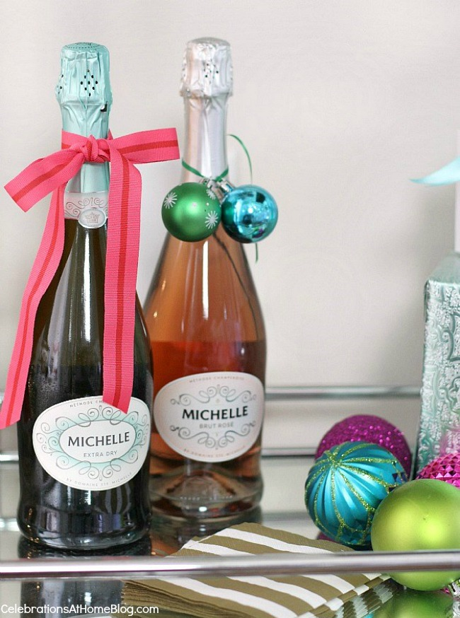 Girls Christmas Party Ideas Part - 41: ... Michelle Sparkling Wine Dressed In Christmas Ornaments And Ribbon ...