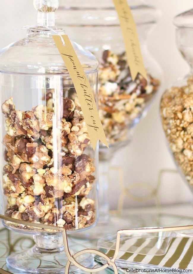 Set up a Popcorn & Champagne Dessert Bar for easy and delicious entertaining.