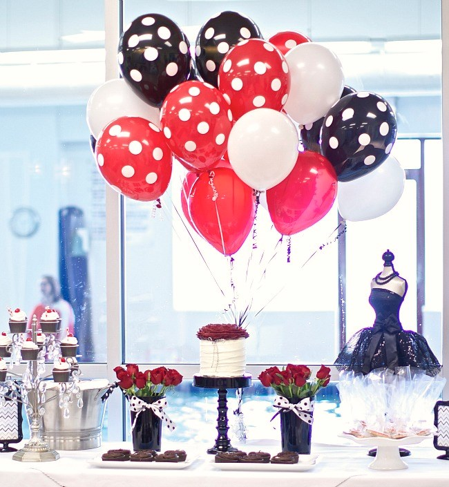 black, white, and red birthday