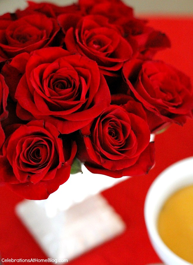 red roses for Valentines day centerpiece