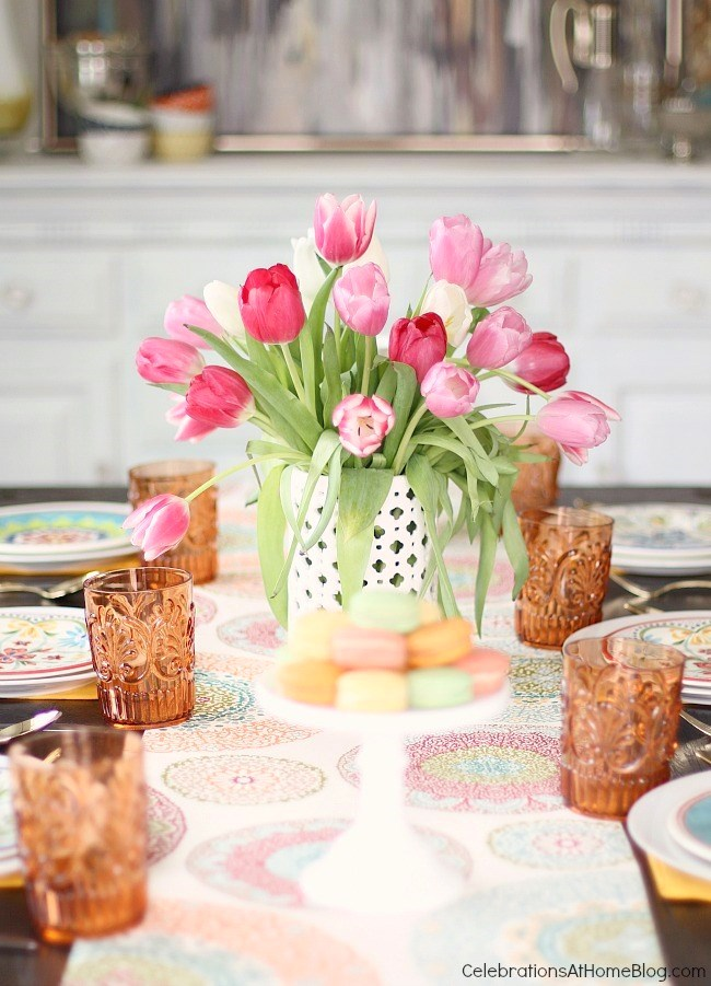 Spring tablescape. See how to add more color to the dining table with 2 different looks for Spring entertaining. I've set one table, two different ways using the same items. See what I changed, here.
