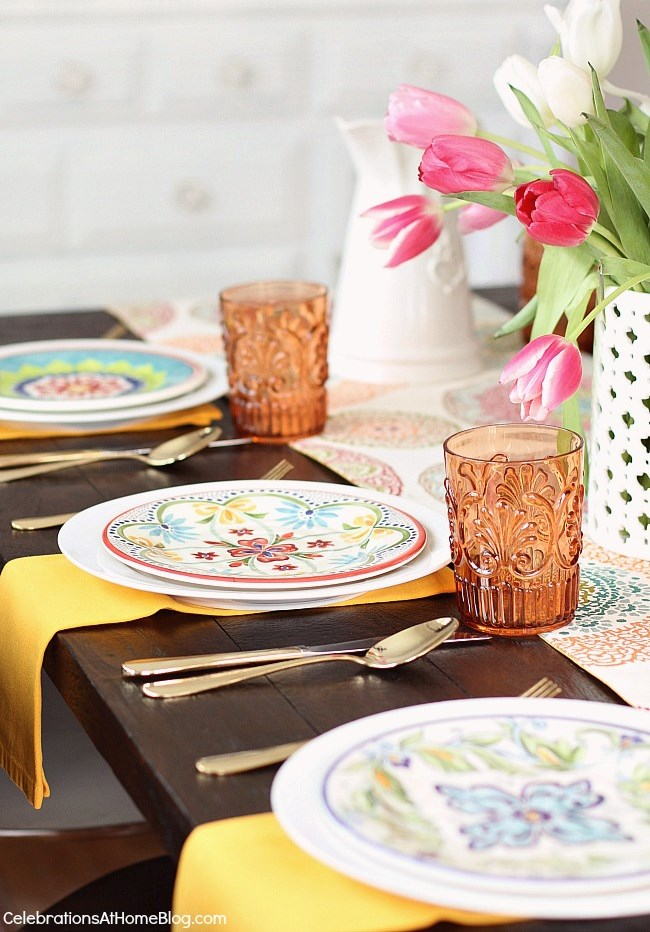 spring place settings; See how to add more color to the dining table with 2 different looks for Spring entertaining. I've set one table, two different ways using the same items. See what I changed, here.