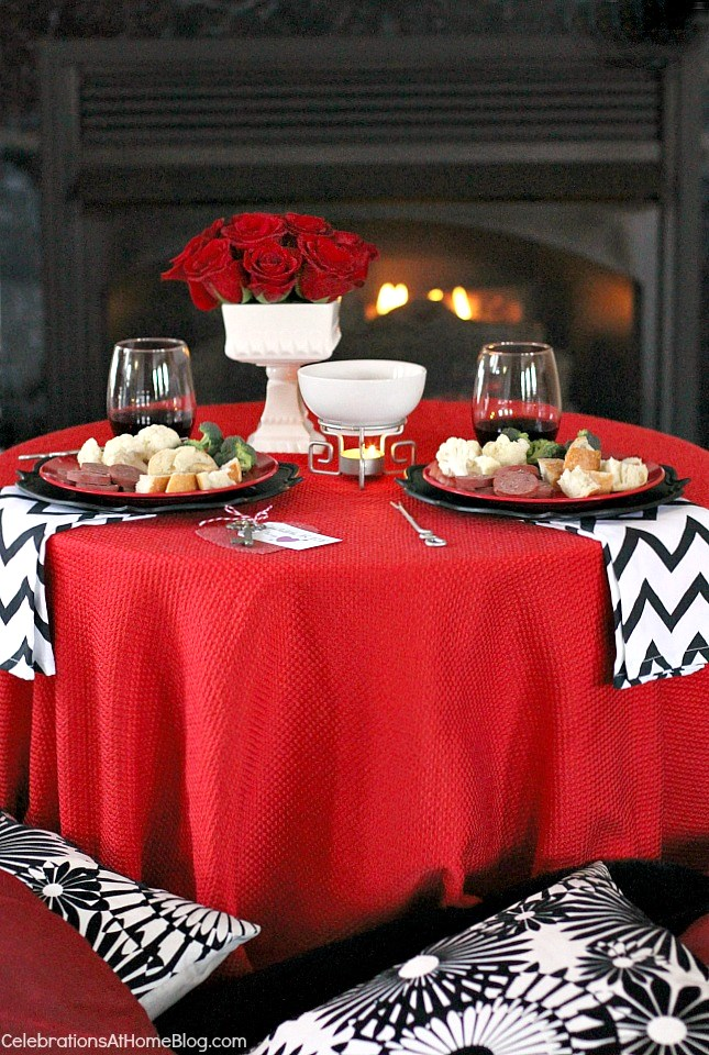 Valentines-day fondue for two