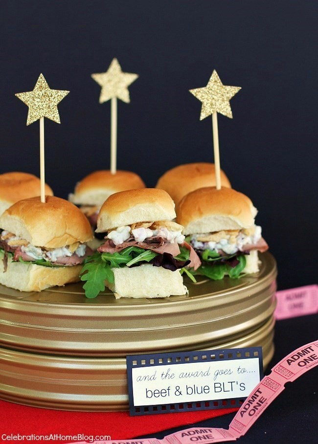 These beef and blue blt party sandwiches combine classic flavors with a twist. Make a bunch for your next cocktail party or style them like I did here for an Awards Viewing party.