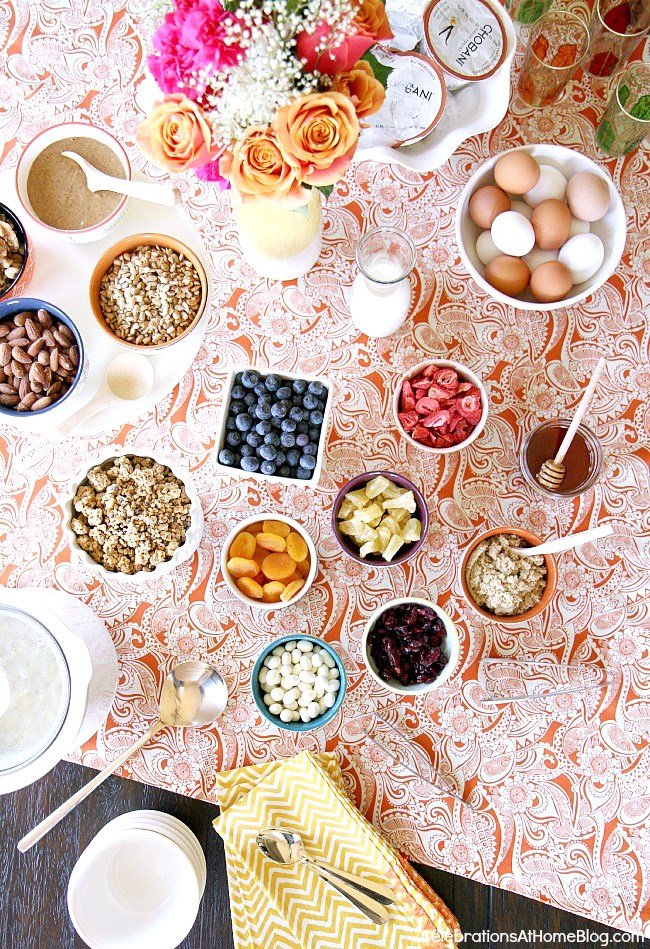 Set up a Hot Cereal Breakfast Bar for brunch entertaining at home. Get ideas and tips here, for a hot cereal station that looks as pretty as it tastes.