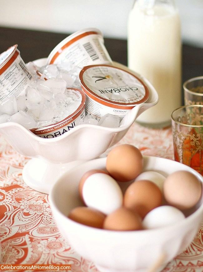 hard boiled eggs and yogurt cups