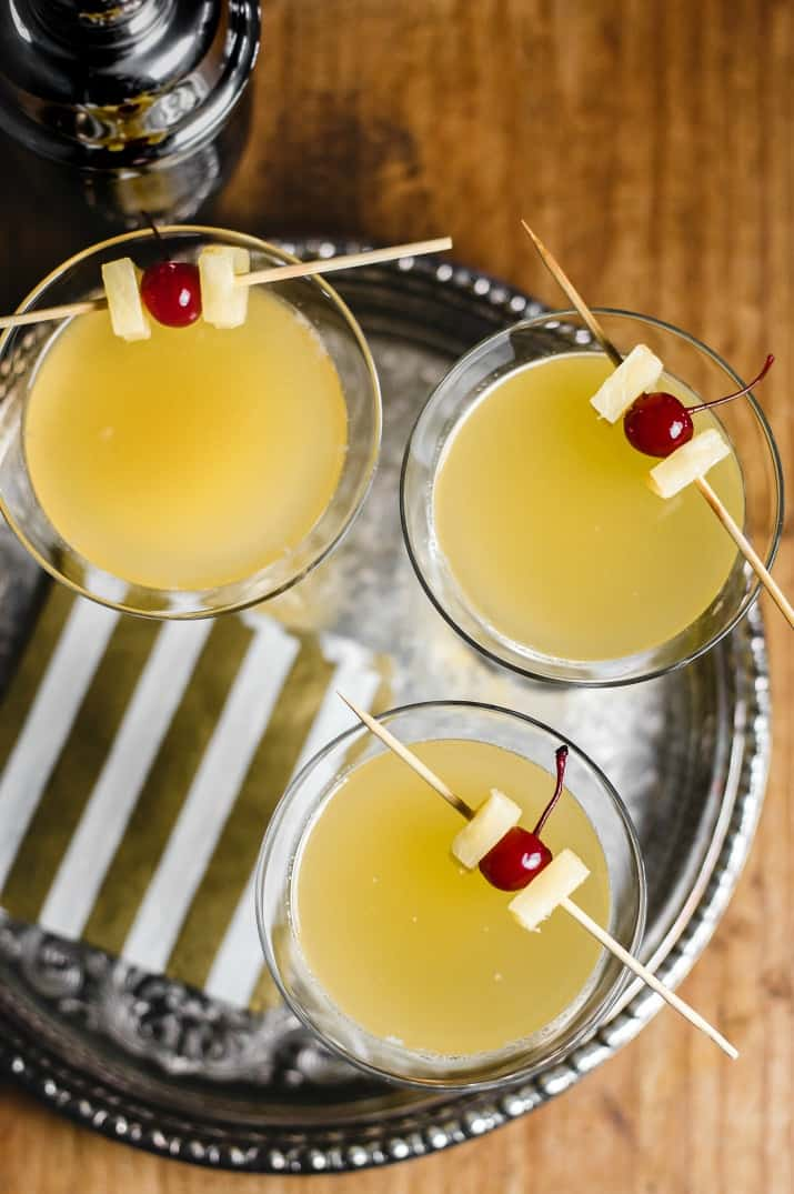 pineapple gin & ginger cocktail