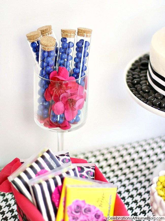 Betsey Jognson inspired dessert table-favor candy tubes