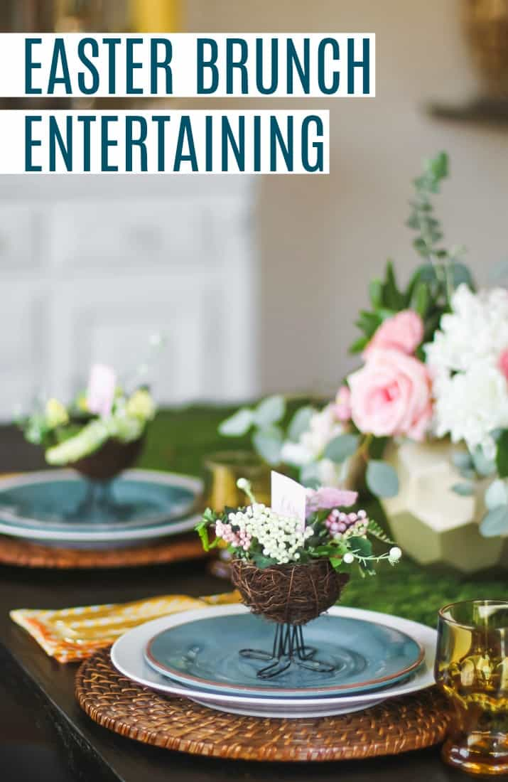 Easter brunch entertaining tablescape and brunch menu