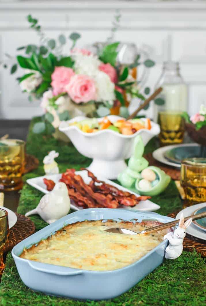 Easter brunch menu on table